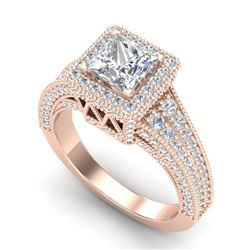 3.5 CTW Princess VS/SI Diamond Solitaire Micro Pave Ring 18K Rose Gold - REF-581M8F - 37167