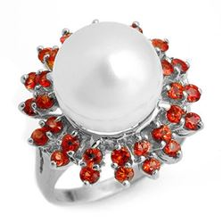 1.50 CTW Red Sapphire & Pearl Ring 18K White Gold - REF-95T3X - 10446