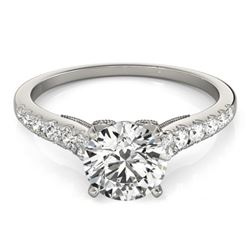 0.65 CTW Certified VS/SI Diamond Solitaire Ring 18K White Gold - REF-76H5W - 27489