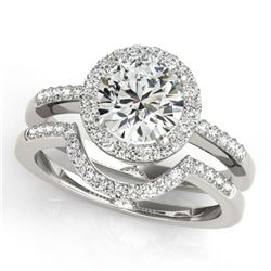 0.67 CTW Certified VS/SI Diamond 2Pc Wedding Set Solitaire Halo 14K White Gold - REF-81M6F - 30768