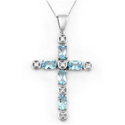 3.15 CTW Blue Topaz & Diamond Necklace 10K White Gold - REF-33N6Y - 10777