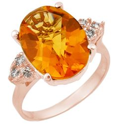 5.10 CTW Citrine & Diamond Ring 10K Rose Gold - REF-35R6K - 11391