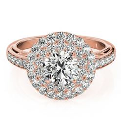 2.25 CTW Certified VS/SI Diamond Solitaire Halo Ring 18K Rose Gold - REF-481H5W - 26881