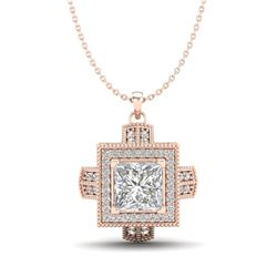1.46 CTW Princess VS/SI Diamond Micro Pave Necklace 18K Rose Gold - REF-418R2K - 37194