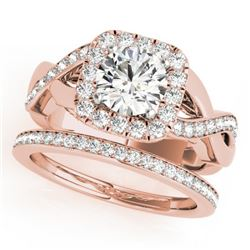 2 CTW Certified VS/SI Diamond 2Pc Wedding Set Solitaire Halo 14K Rose Gold - REF-413M8F - 30652