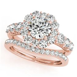 3.16 CTW Certified VS/SI Diamond 2Pc Wedding Set Solitaire Halo 14K Rose Gold - REF-592M5F - 30727