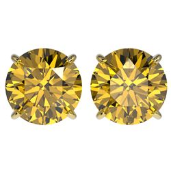 4 CTW Certified Intense Yellow SI Diamond Solitaire Stud Earrings 10K Yellow Gold - REF-824N2Y - 331