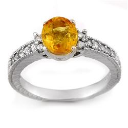2.42 CTW Yellow Sapphire & Diamond Ring 14K White Gold - REF-52R9K - 11270