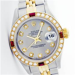 Rolex Men's Two Tone 14K Gold/SS, QuickSet, Diam Dial & Diam/Ruby Bezel - REF-474W5K