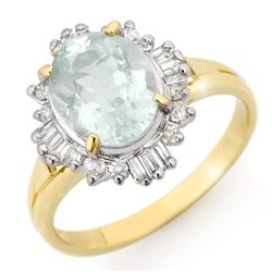 2.53 CTW Aquamarine & Diamond Ring 10K Yellow Gold - REF-40F2M - 14460