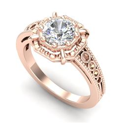 1 CTW VS/SI Diamond Solitaire Art Deco Ring 18K Rose Gold - REF-318R3K - 36873
