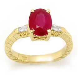 3.70 CTW Ruby & Diamond Ring 10K Yellow Gold - REF-36Y8N - 11682