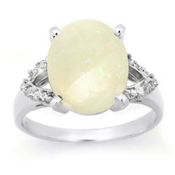 2.75 CTW Opal & Diamond Ring 10K White Gold - REF-39W6H - 13025