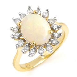 1.78 CTW Opal & Diamond Ring 10K Yellow Gold - REF-50K2R - 13266