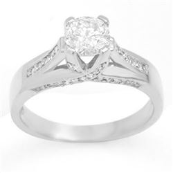 1.18 CTW Certified VS/SI Diamond Ring 14K White Gold - REF-263K4R - 11378