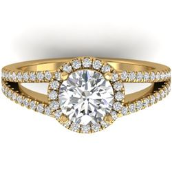2 CTW Certified VS/SI Diamond Solitaire Micro Halo Ring 14K Yellow Gold - REF-512N2Y - 30380