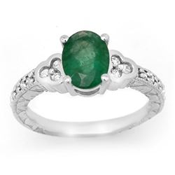 2.29 CTW Emerald & Diamond Ring 14K White Gold - REF-62W4H - 13816
