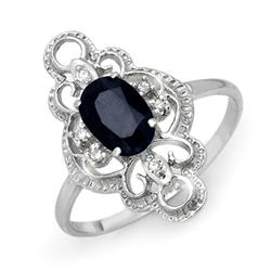 1.10 CTW Blue Sapphire & Diamond Ring 18K White Gold - REF-33W5H - 12288