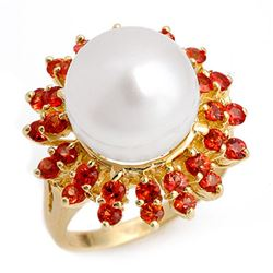 1.50 CTW Red Sapphire & Pearl Ring 10K Yellow Gold - REF-54R9K - 10444