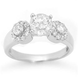 1.38 CTW Certified VS/SI Diamond Ring 18K White Gold - REF-363R8K - 11359