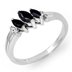 0.29 CTW Blue Sapphire & Diamond Ring 18K White Gold - REF-32N9Y - 13526