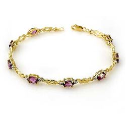 3.73 CTW Amethyst & Diamond Bracelet 10K Yellow Gold - REF-32F2M - 13588