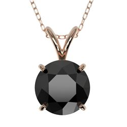 1.50 CTW Fancy Black VS Diamond Solitaire Necklace 10K Rose Gold - REF-41W3H - 33224