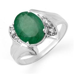 2.32 CTW Emerald & Diamond Ring 14K White Gold - REF-40H2W - 13665