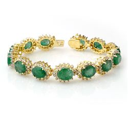 30.05 CTW Emerald & Diamond Bracelet 14K Yellow Gold - REF-527R3K - 13347