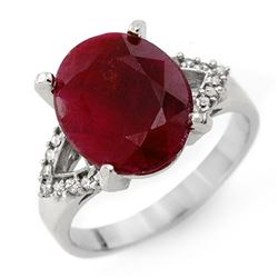 6.50 CTW Ruby & Diamond Ring 14K White Gold - REF-53H3W - 12759