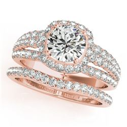 2.19 CTW Certified VS/SI Diamond 2Pc Wedding Set Solitaire Halo 14K Rose Gold - REF-429K3R - 31143