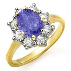 2.75 CTW Tanzanite & Diamond Ring 14K Yellow Gold - REF-86T4X - 13423