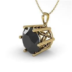 2 CTW Black Diamond Solitaire Necklace 18K Yellow Gold - REF-65Y5N - 35878