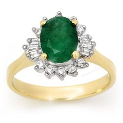 1.78 CTW Emerald & Diamond Ring 14K Yellow Gold - REF-46F5M - 13647