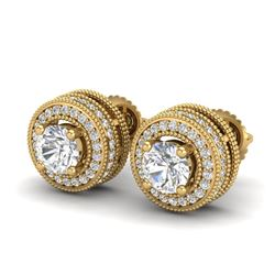 2.09 CTW VS/SI Diamond Solitaire Art Deco Stud Earrings 18K Yellow Gold - REF-254R5K - 37141