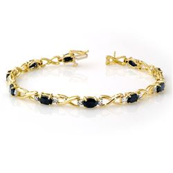 7.0 CTW Blue Sapphire & Diamond Bracelet 10K Yellow Gold - REF-44T8X - 13598