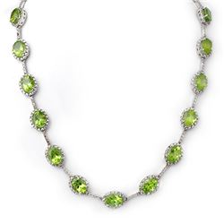 45.0 CTW Peridot & Diamond Necklace 14K White Gold - REF-424R4K - 10314