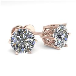 2.0 CTW Certified VS/SI Diamond Stud Solitaire Earrings 18K Rose Gold - REF-490H4W - 35843