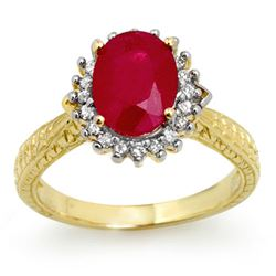 2.75 CTW Ruby & Diamond Ring 10K Yellow Gold - REF-49R3K - 12327