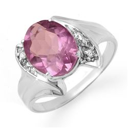 1.59 CTW Amethyst & Diamond Ring 18K White Gold - REF-31F3M - 12476