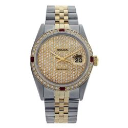 Rolex Men's Two Tone 14K Gold/SS, QuickSet, Diam Pave Dial & Diam/Ruby Bezel - REF-572K7R