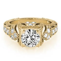 1.25 CTW Certified VS/SI Diamond Solitaire Antique Ring 18K Yellow Gold - REF-399X5T - 27299