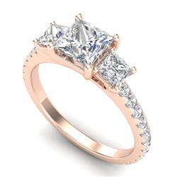 2.14 CTW Princess VS/SI Diamond Art Deco 3 Stone Ring 18K Rose Gold - REF-454W5H - 37206