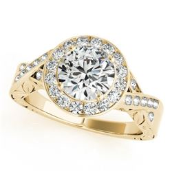 1.75 CTW Certified VS/SI Diamond Solitaire Halo Ring 18K Yellow Gold - REF-623Y2N - 27059