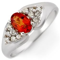 0.90 CTW Orange Sapphire & Diamond Ring 18K White Gold - REF-49T5X - 10301
