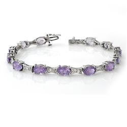 12.04 CTW Tanzanite & Diamond Bracelet 10K White Gold - REF-95X3T - 13806