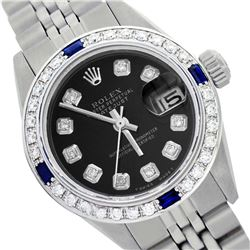 Rolex Ladies Stainless Steel, Diam Dial & Diam/Sapphire Bezel, Saph Crystal - REF-355X6A