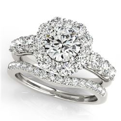 2.51 CTW Certified VS/SI Diamond 2Pc Wedding Set Solitaire Halo 14K White Gold - REF-450R8K - 30723