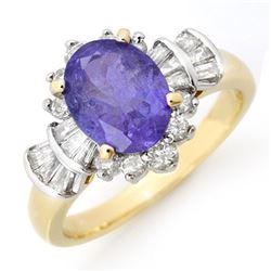 2.90 CTW Tanzanite & Diamond Ring 14K Yellow Gold - REF-114Y5N - 14447