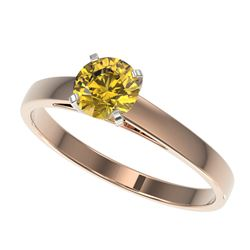 0.74 CTW Certified Intense Yellow SI Diamond Solitaire Engagement Ring 10K Rose Gold - REF-112X2T -